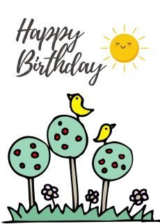 Happy Birthday Birdies Tree Card