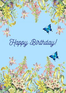 happy birthday floral tree card